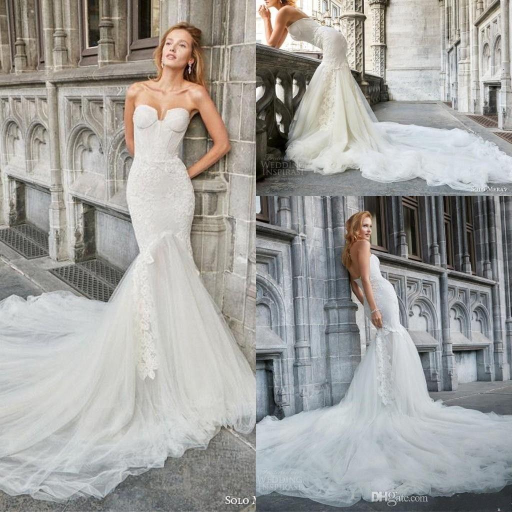 2017 Boho Lace Mermaid Wedding Dresses Strapless Backless