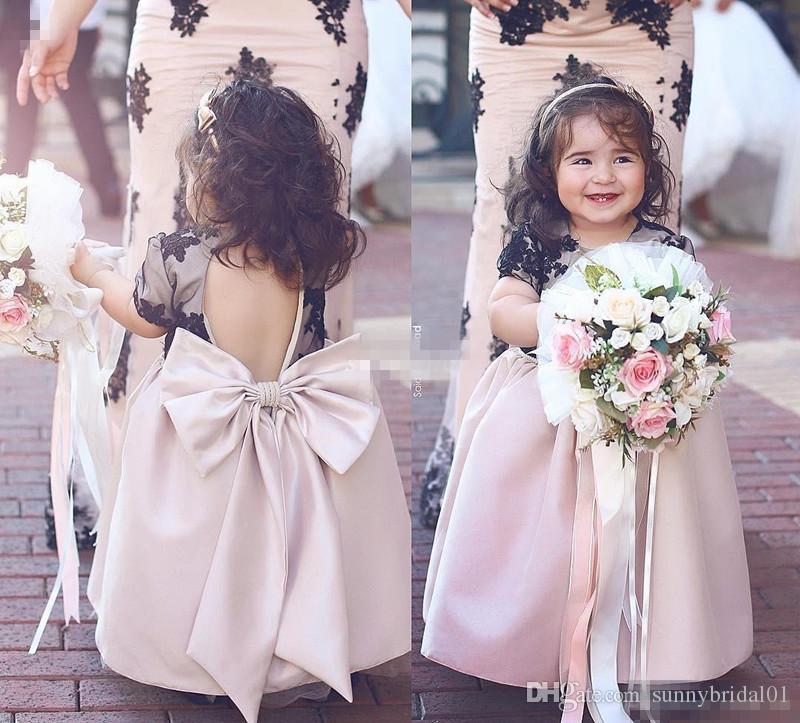 Lovely baby flower girl dresses for wedding black lace for Big girl dresses for wedding guests
