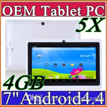 5X Cheap 7inch Q88 double caméra A33 Quad Core Tablet PC Android 4.4 OS Wifi 4 G