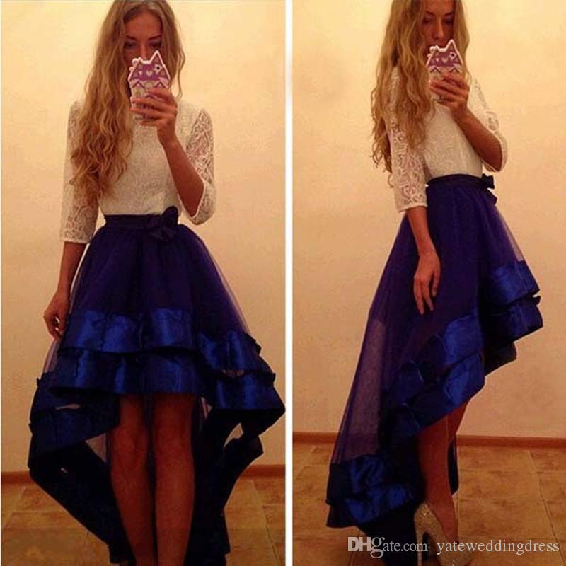 2017 Fashion High Low Prom Dresses White Lace Top And Dark Blue ...
