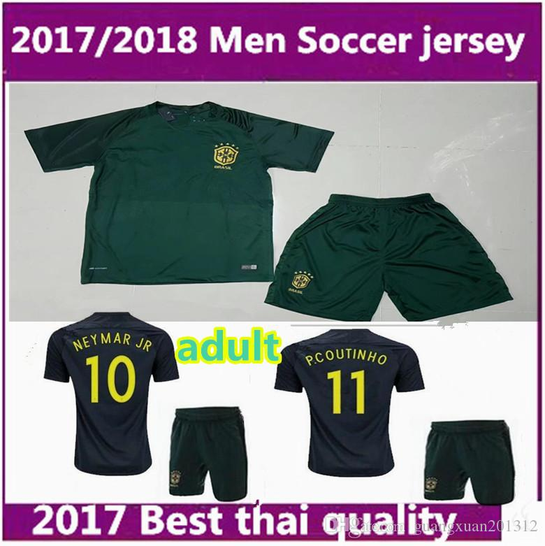2017 2018 men world cup soccer jersey kits 3rd green brazilian neymar jr pele p.