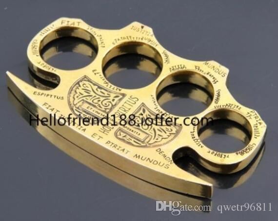 QTY1 GILDED THICK STEEL BRASS KNUCKLE DUSTERS Saint spiritus Fiat justitia et pi