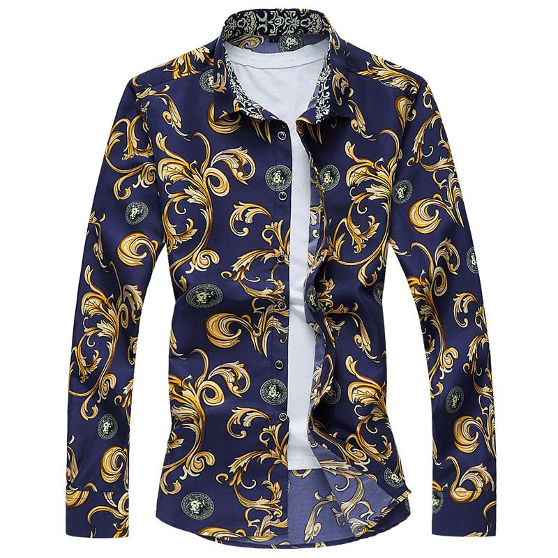 2017 wholesale mens floral shirt 2017 luxury brand 6xl 7xl for Bulk mens dress shirts