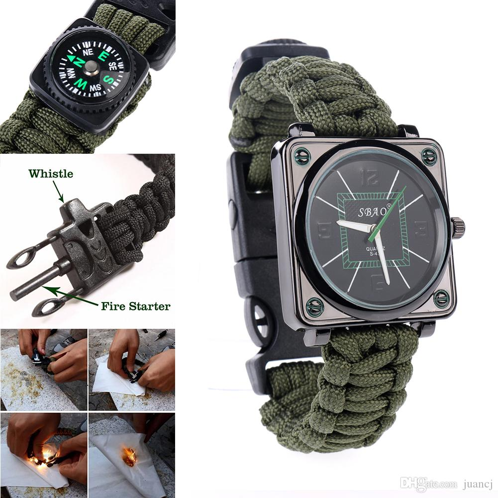 new survival outdoor multifunction men whistle straps watches 56