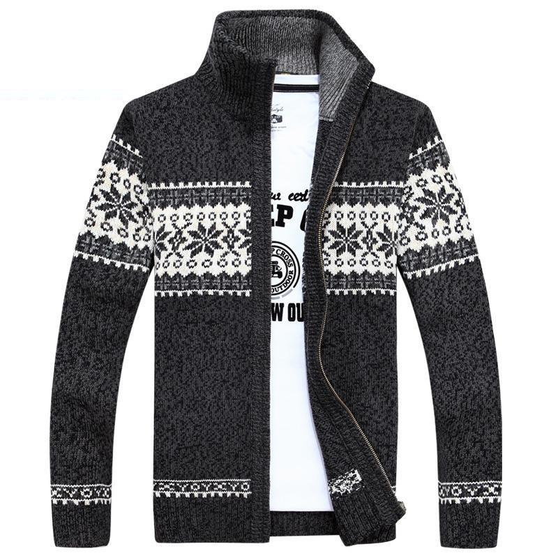 Plus Size 2xl 3xl Casual Mens Cardigan Sweater Stand Collar Men's ...