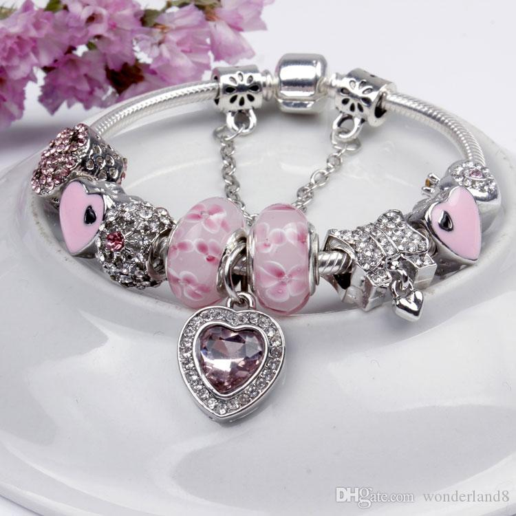 Wholesale 925 sterling silver plated charm bracelet for Bulk jewelry chain canada