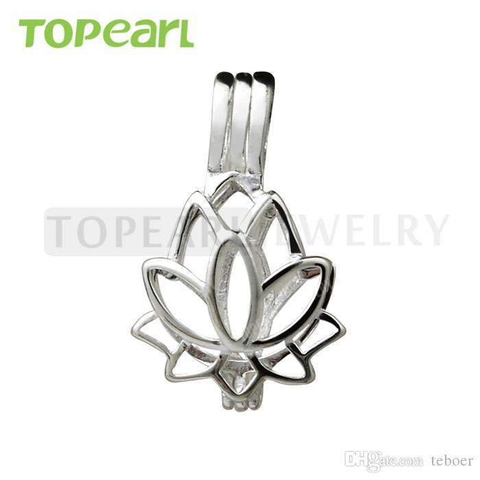 SWP11 Teboer Jewelry 5pcs Lotus Flower Cage 925 Sterling Silver Love Wish Penden