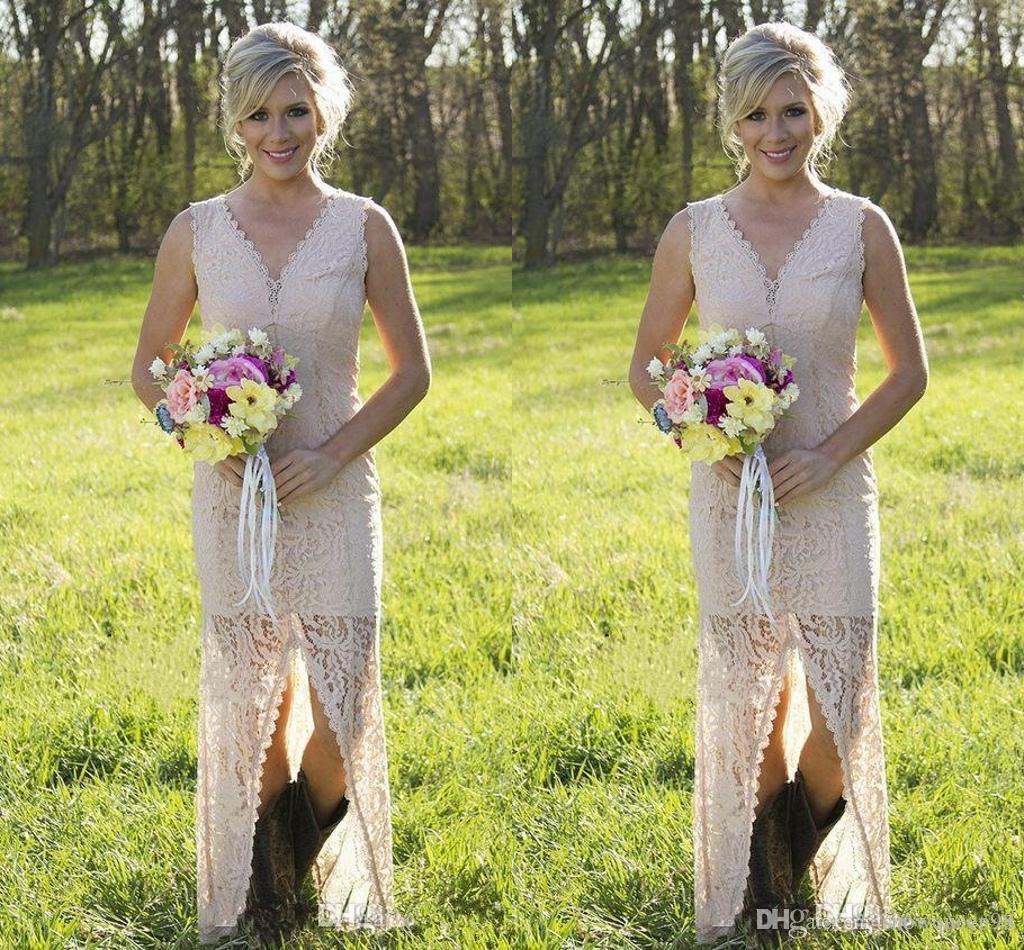 High Low Lace Bridesmaid Dresses 2016 Slit y V Neck