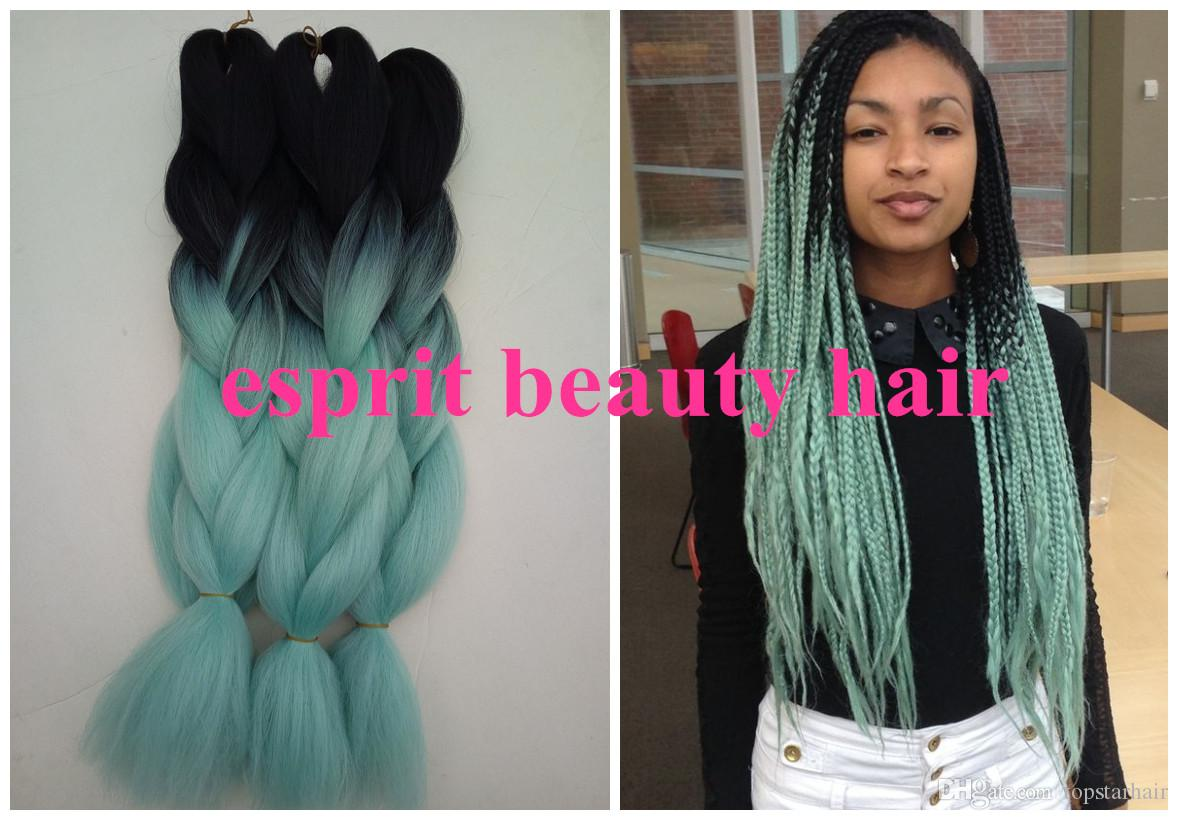Hot Sale Mint Green Ombre Box Braiding Hairstyles
