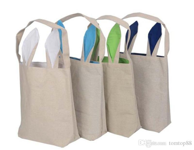 Easter Carrier Bag Bunny Ears Cotton Cloth Bags Diy Canvas Handbag ...
