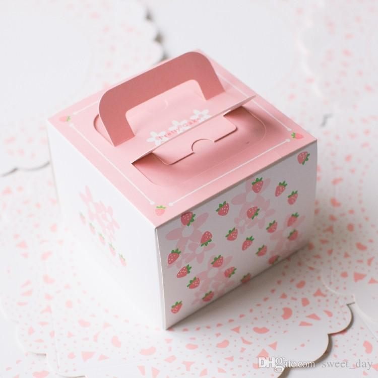 Bakery Package Pink Strawberry Decoration 4 Inch Hand Portable ...