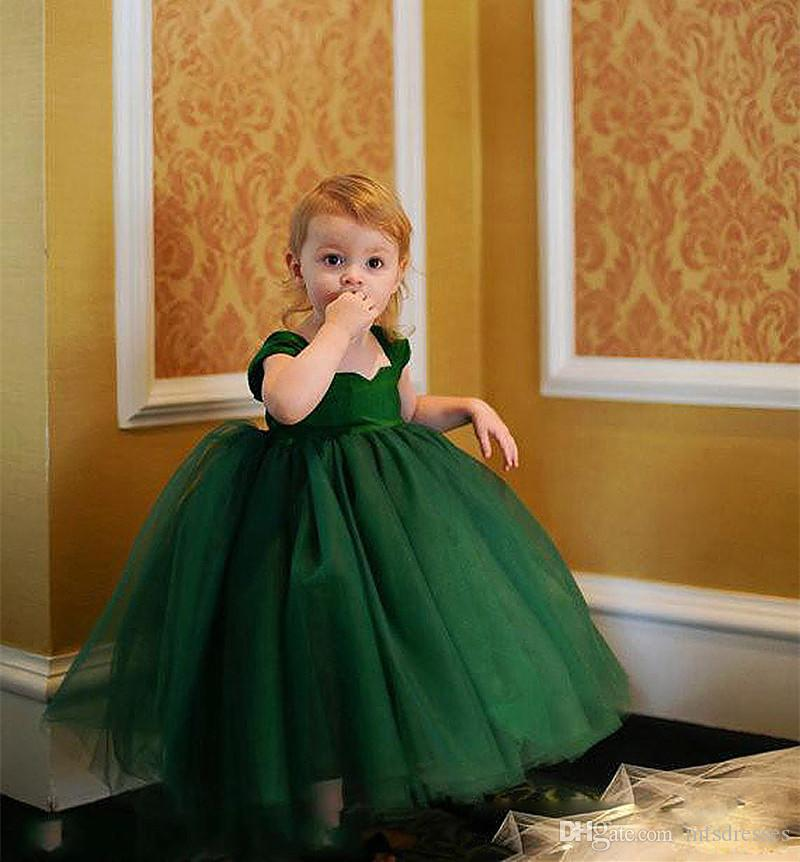 Lovely Dark Green Baby Toddler Infant Ball Gown Flower