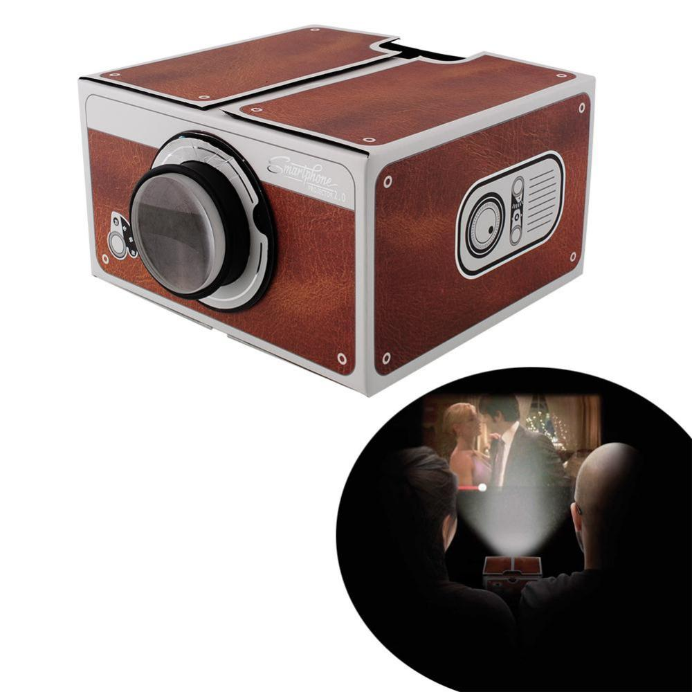 Wholesale cardboard smartphone projector 2 0 diy for for Best portable projector for movies
