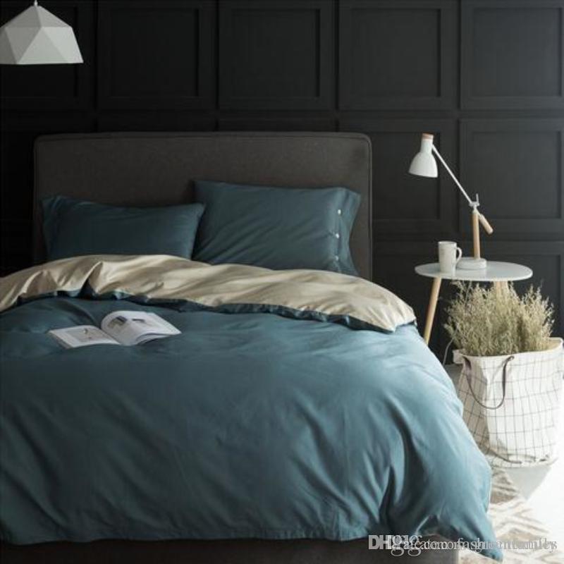 100 Egyptian Cotton Button Bedding Set Luxury Duvet Cover