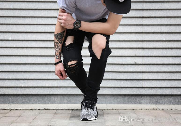 2017 Kpop Skinny Ripped Korean Hip Hop Fashion Pants Cool Mens Urban Clothing Jumpsuit Menu0026#39;S ...