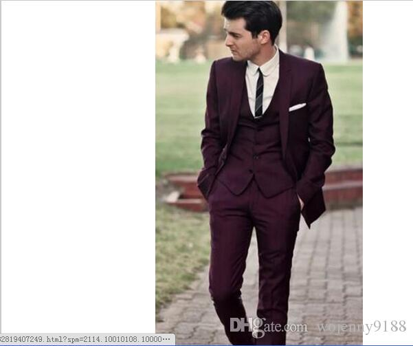 Hot Sale Handsome Burgundy Wedding Tuxedos Slim Fit Suits For Men Cheap Jacket Vest And Pants Groom Suit Three Pieces Prom Wear