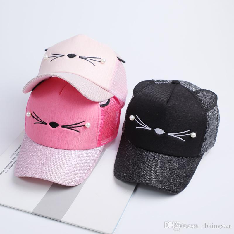 new women cat baseball cap with cute cat ears curved brim