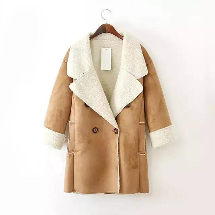 Winter New Women Wool Coat Thick Suede Leather Turn-down Collar ...