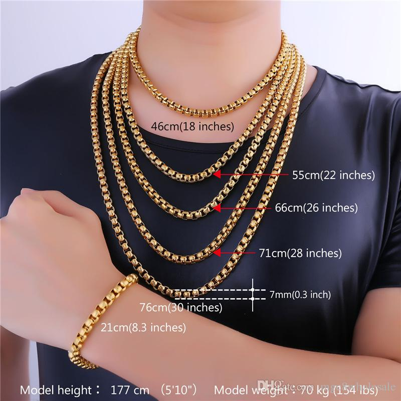 2018 U7 7mm 5 Sizes 18k Gold Plated Box Chains Classical