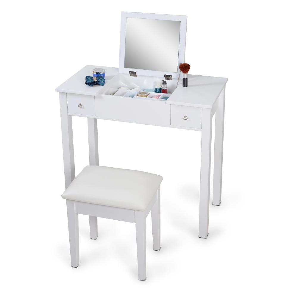 white mirrorred makeup desk vanity table cosmetics storage