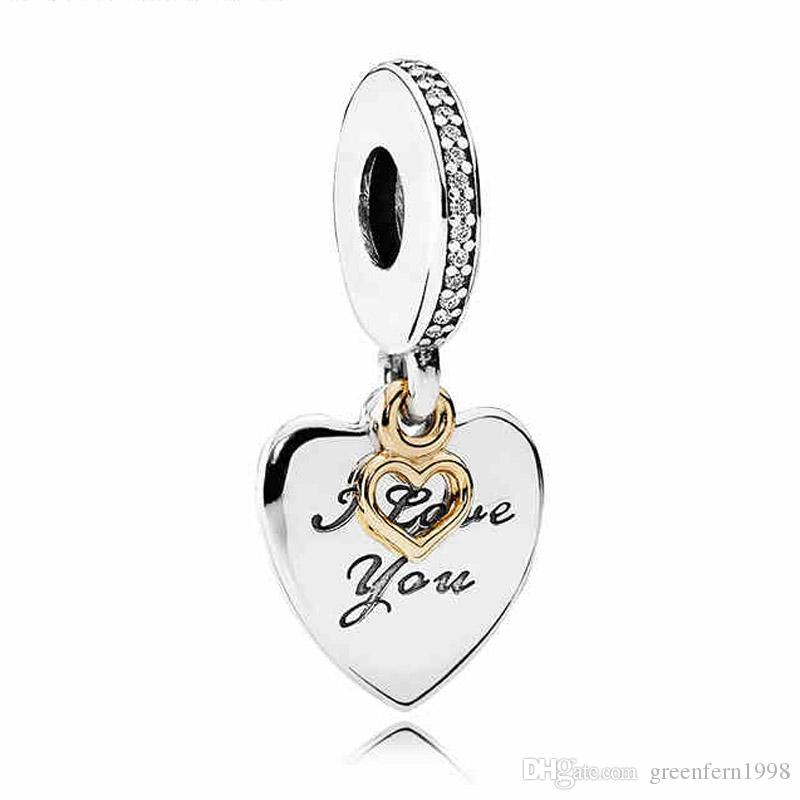 Authentique 925 Sterling Silver Bead Charm Gold Love Heart Love You Forever Pend