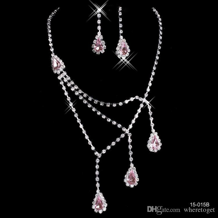 Pink rhinestone bridal jewelry sets earrings necklace for Pink wedding jewelry sets