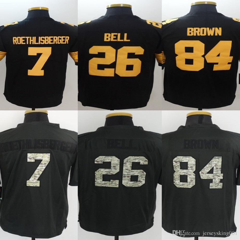 Men's Stitched n ° 7 Ben Roethlisberger # 26 Le'Veon Bell # 84 Antonio Brown Cou