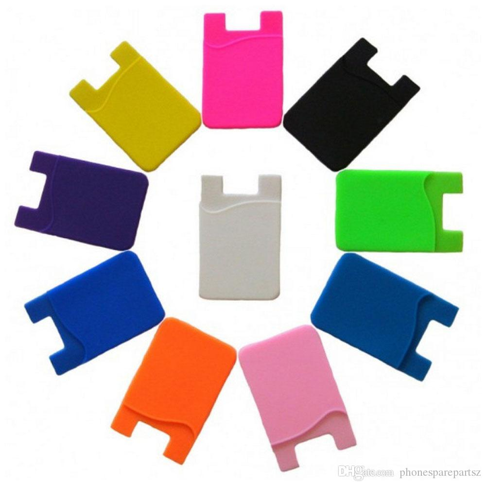 Logo client ok! Silicone Smart Phone Wallet Porte-cartes de crédit Stick-On Port