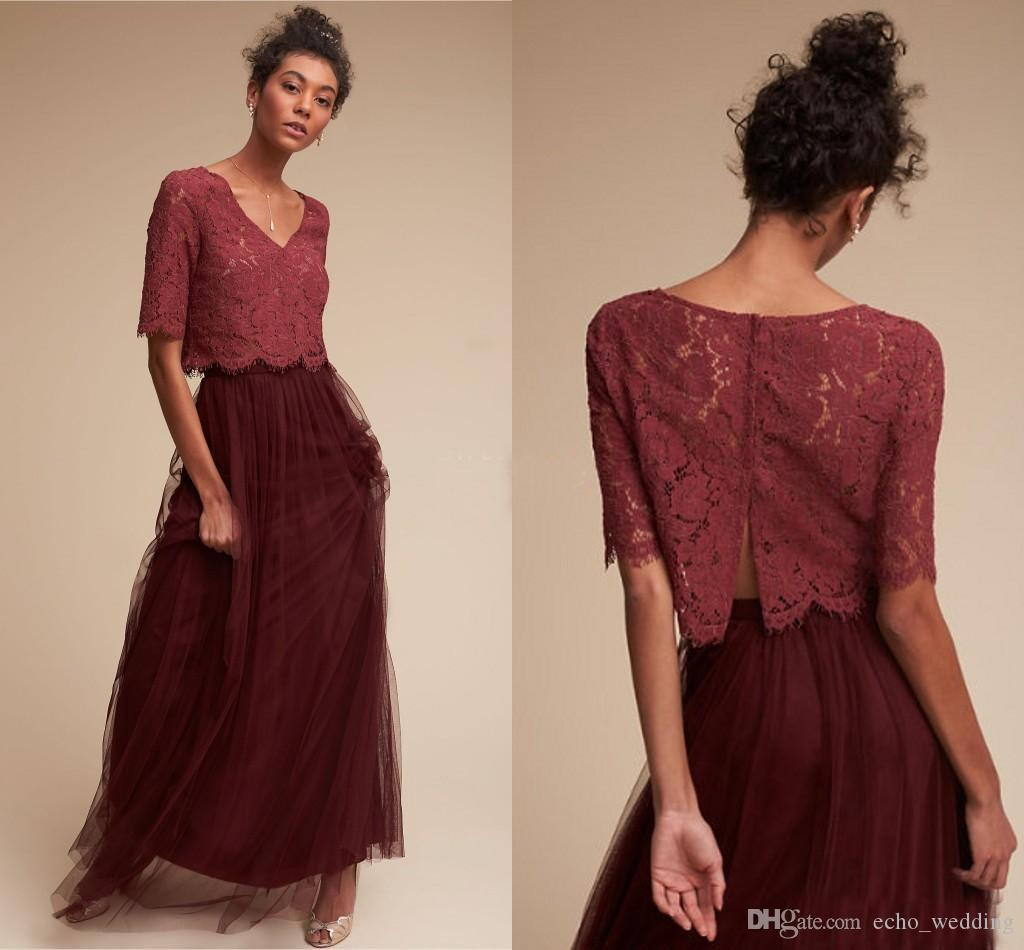 Two piece long burgundy country bridesmaid dresses 2017 half two piece long burgundy country bridesmaid dresses 2017 half sleeves lace top tulle skirt wedding guest gowns formal maid of honor dresses country ombrellifo Image collections
