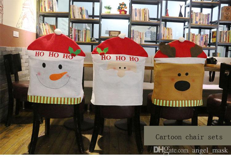 Christmas Dining Room Chair Covers For The Spirit Of Christmas For Christmas  Decorations Snowman Santa Claus Elk Chair Back Cartoon Chair Cove Dining  Room ...
