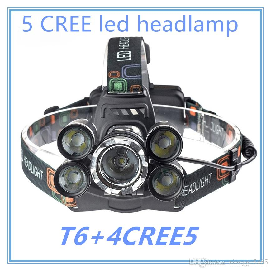 5 LED 15000 Lumens Lumière Cree XM-L T6 Lampe Head High Power LED + 2pcs 18650 B