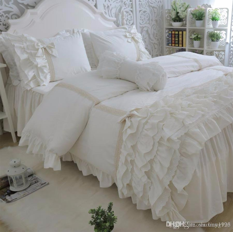 Luxury Princess Lace Ruffle Bed Set Twin Full Queen King