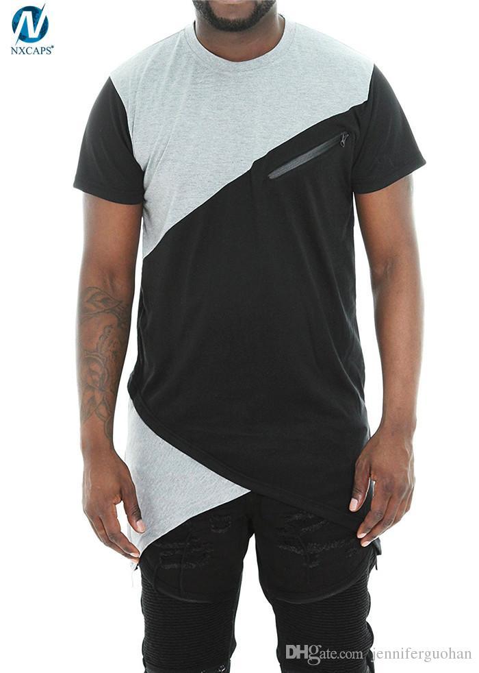 custom longline t shirt men tall tee side zipper t shirts