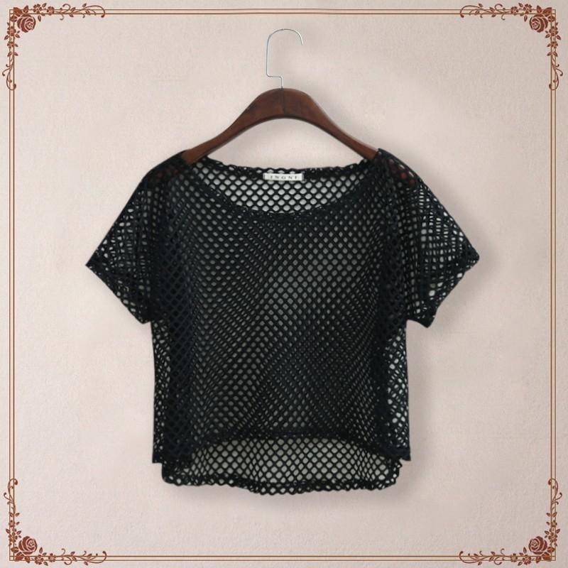 Wholesale  Korean Designer Brand Sexy See through Net Loose T shirt Woman  New 2016 Summer Mesh T Shirt Tops Camisetas Feminino Crop Top. Discount Designer Crop Tops   2017 Designer Crop Tops on Sale at