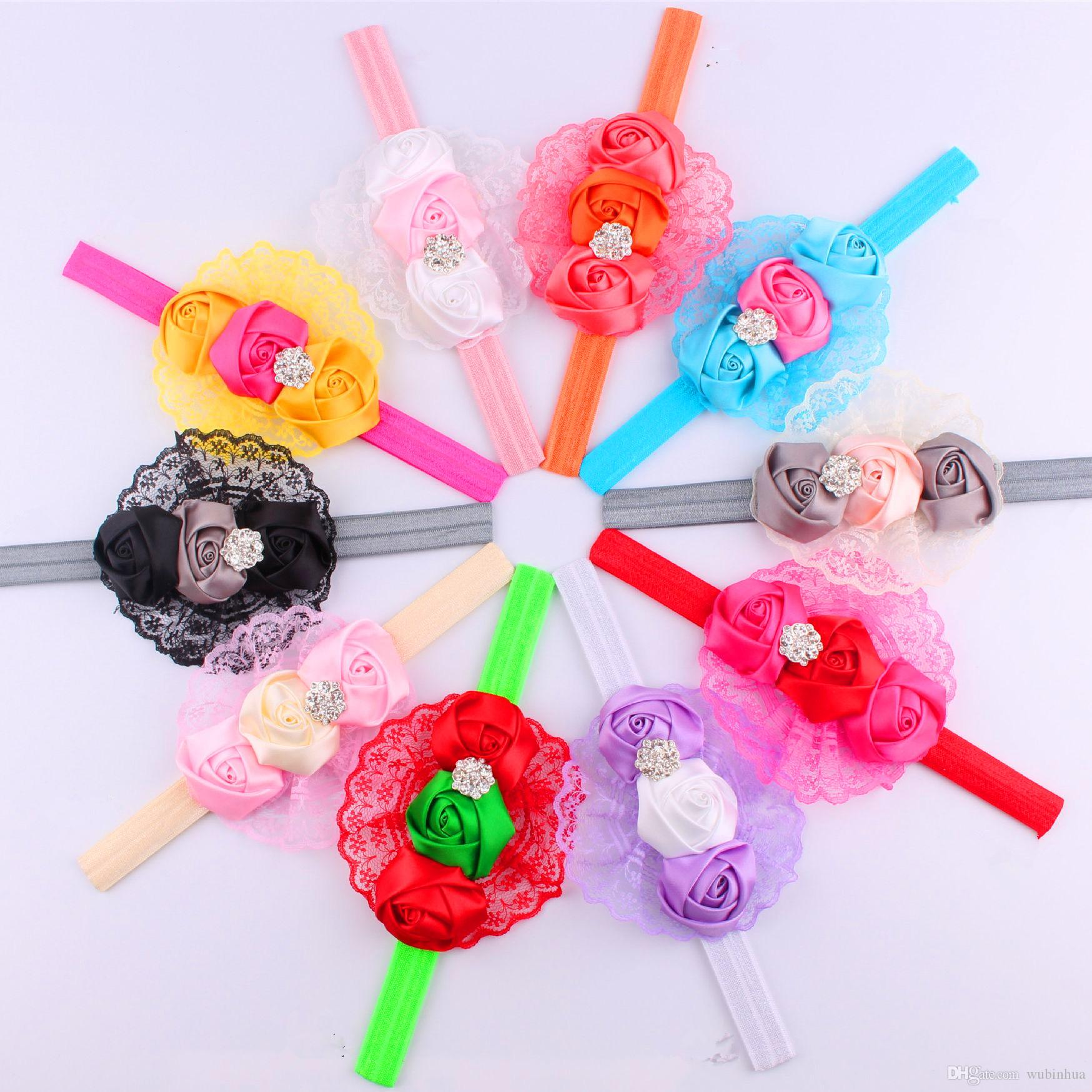 New baby ornaments - Wholesale100pcs Lot New Baby Headband High Quality Lace Fabric Rose Flower Hair Band 10 Colors