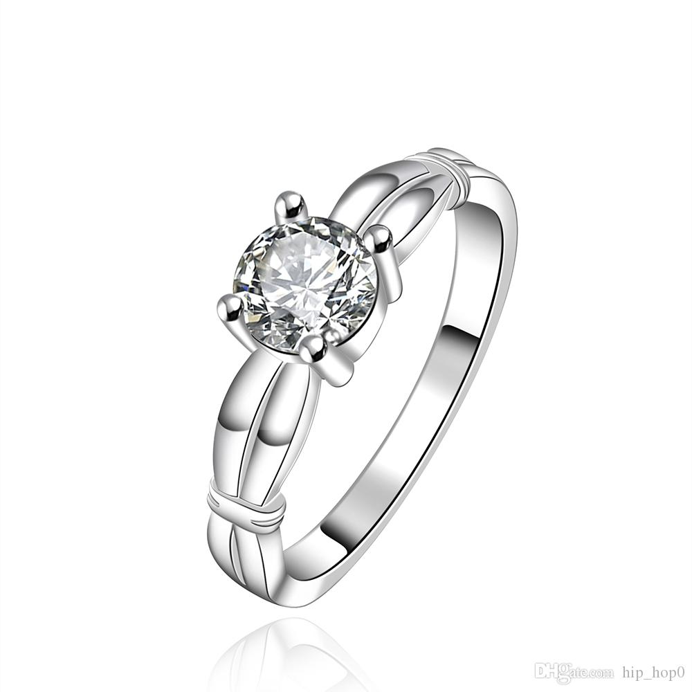 simple engagement ring women men lover silver plated wedding ring best friend gift with cz stone zircon ring simulation diamond jewelry gift - Simple Wedding Ring Sets