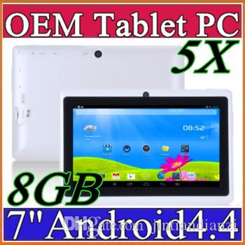 5X Cheap 7inch Q88 double caméra A33 Quad Core Tablet PC Android 4.4 OS Wifi 8 G