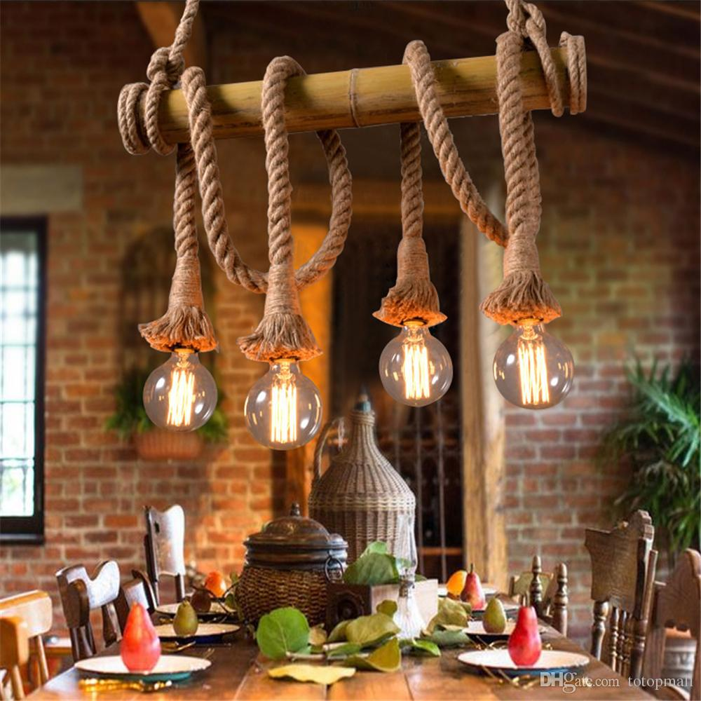 Vintage Bamboo Rope Pendant Lamp Retro Countryside Wicker