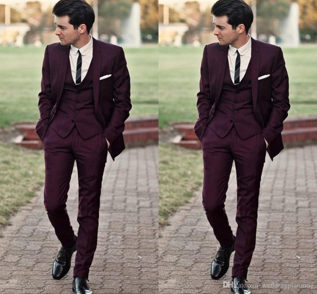 Burgundy Slim Fit Wedding Tuxedos Suits For Men Cheap Jacket Vest And Pants Groom Suit Three Pieces Prom