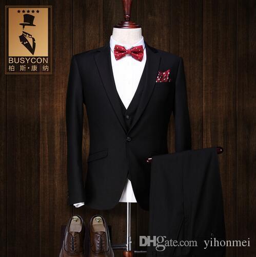2018 costume homme mariage 2017 de marque trajes hombre formal black tuxedos for men suits. Black Bedroom Furniture Sets. Home Design Ideas
