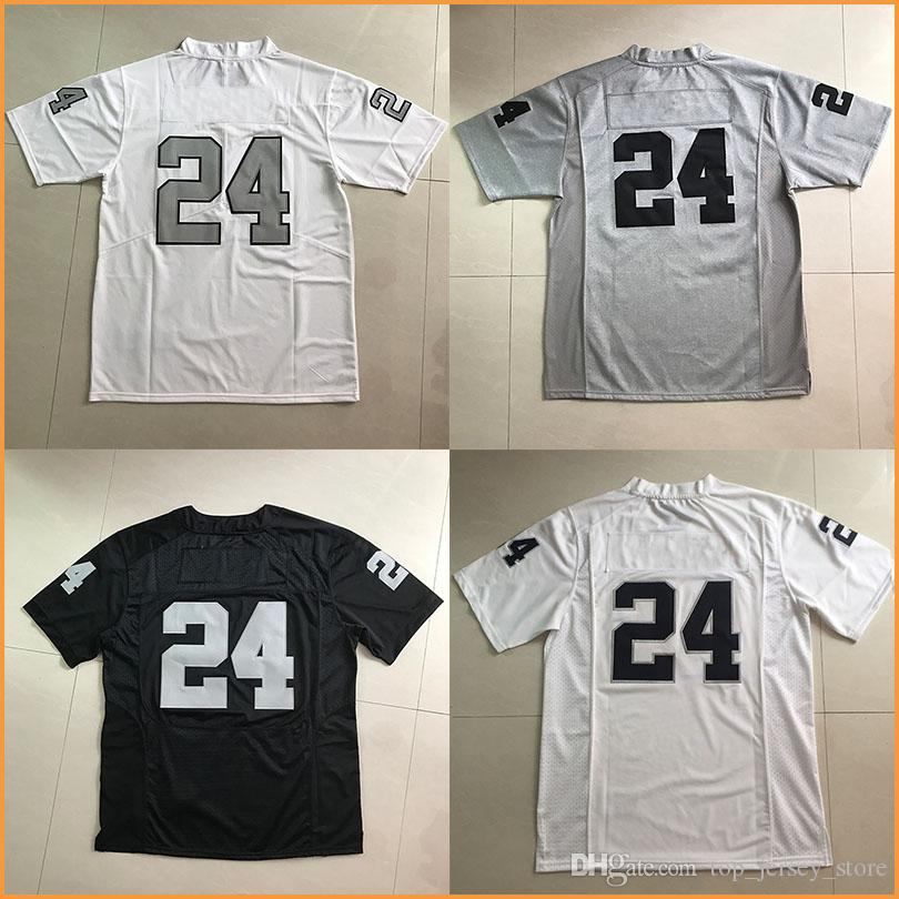 Hommes # 24 Marshawn Lynch maillots de football Black White Elite jeu Color Rush