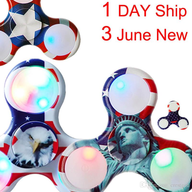 Ship 1 Day + Luminous Neon Fidget Spinner Spinner à main Réducteur de stress ave