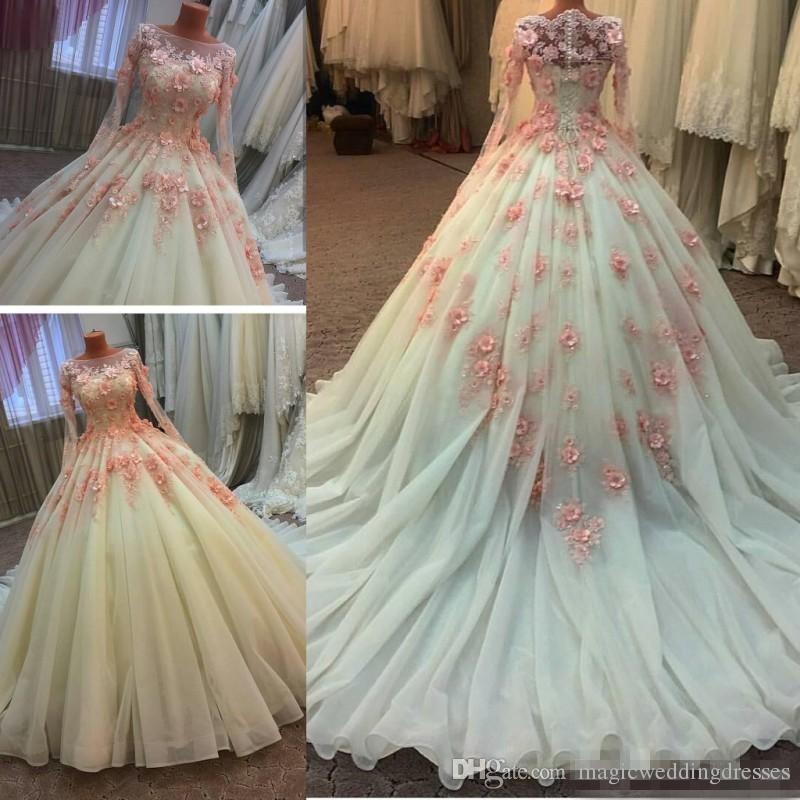 Discount real photos muslim lace a line wedding dresses for Ball gown wedding dresses with long trains