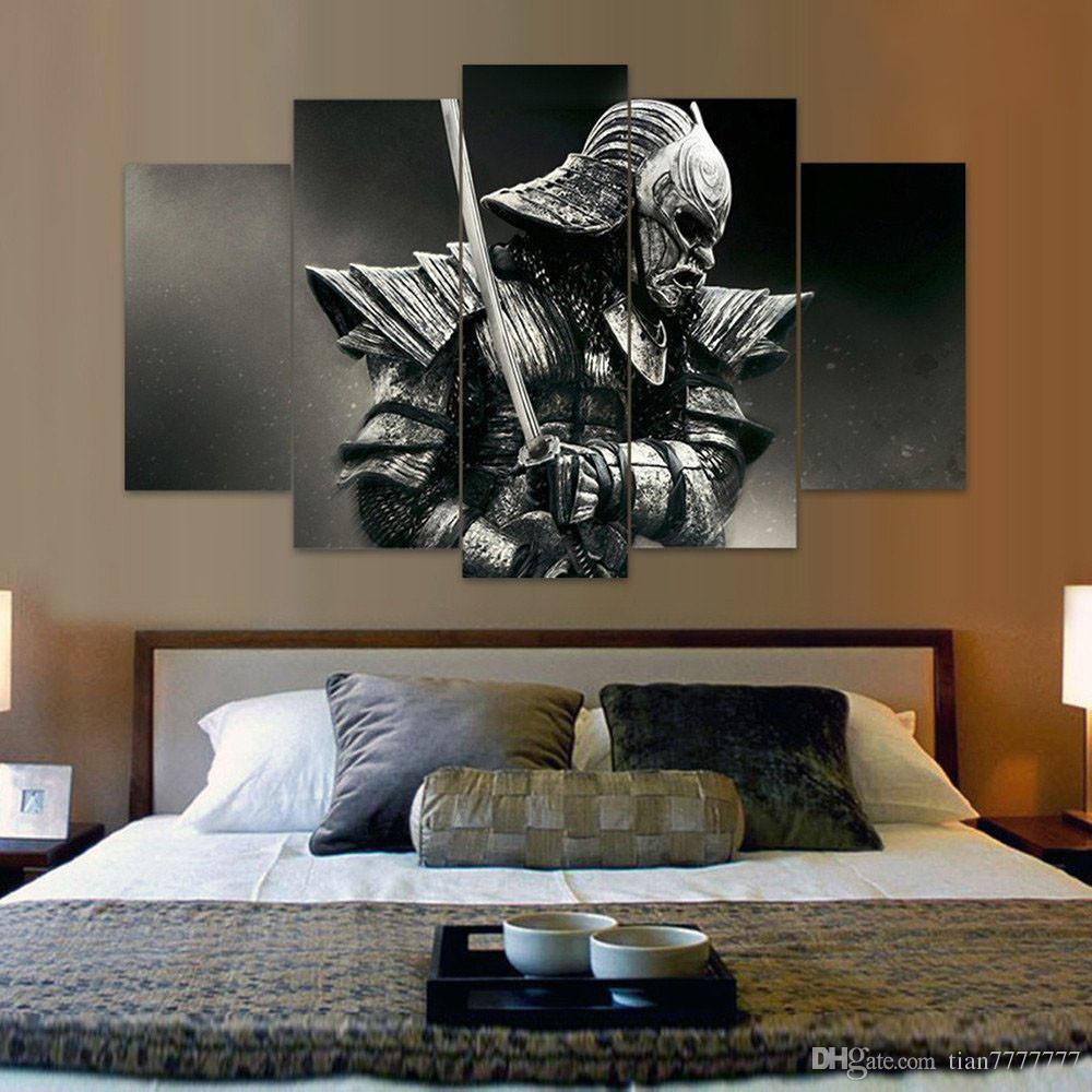 unframed 5 panel samurai canvas painting