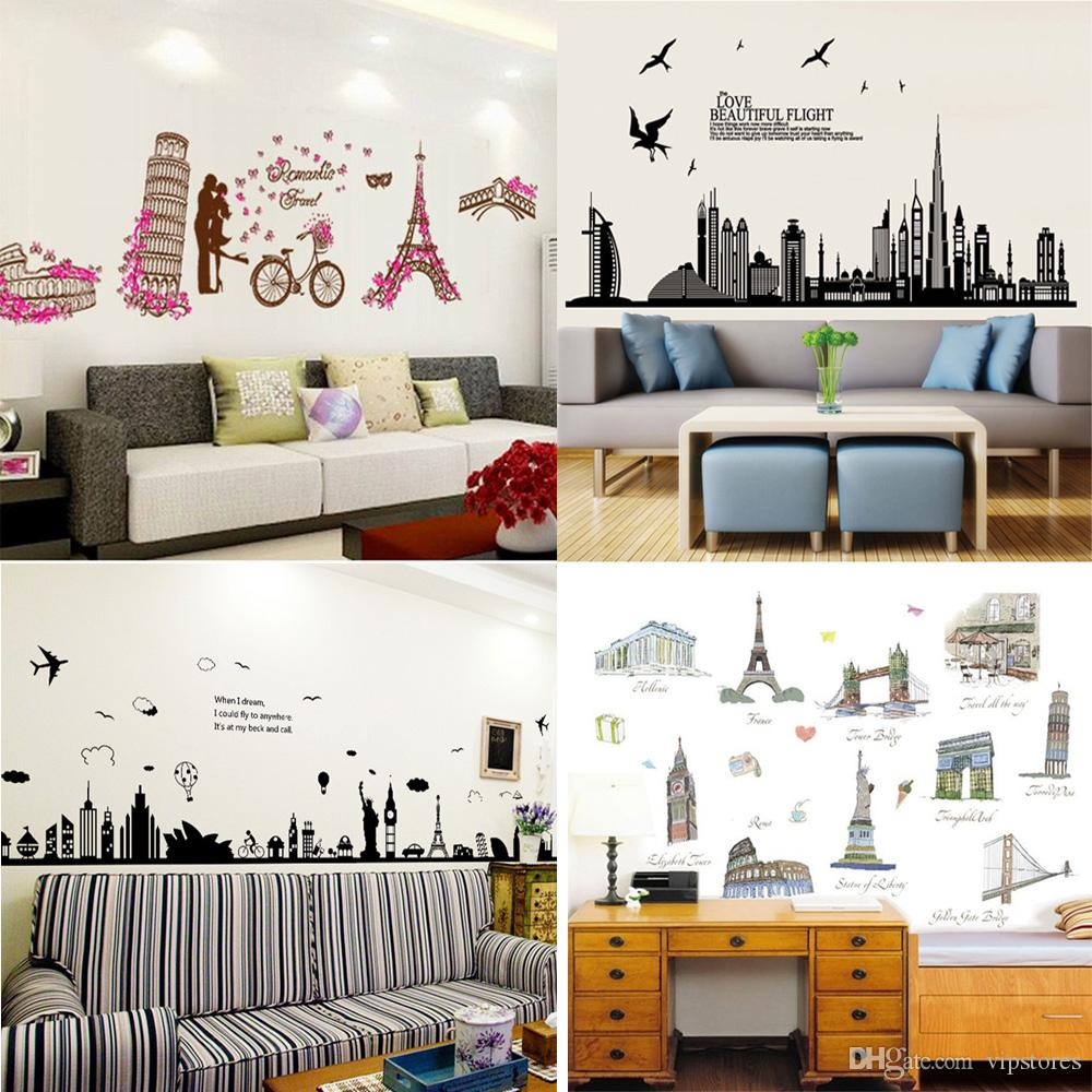 Places of interest cartoon wall stickers home decor world for Home decor places