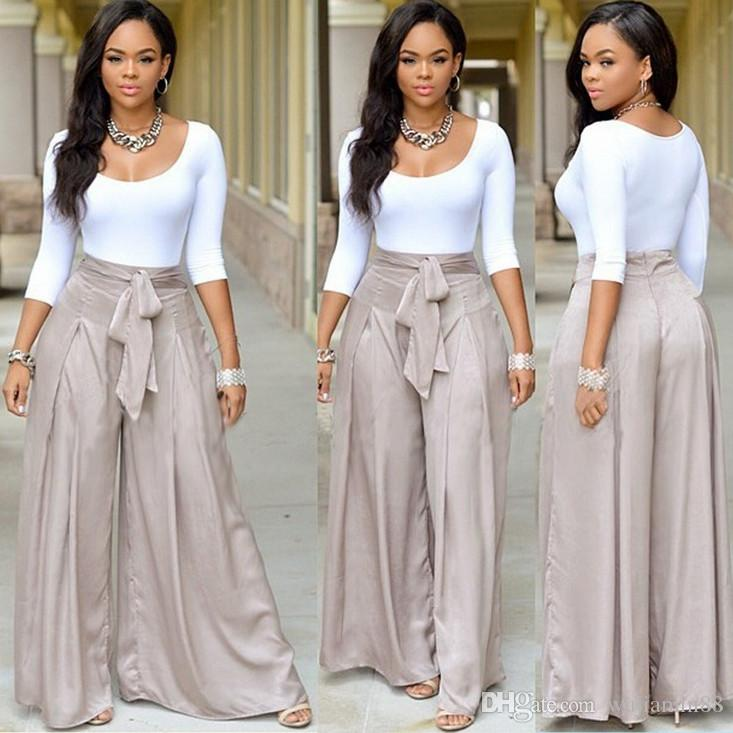 White Off Le V-neck Long Sleeve Sexy Lacing + Loose Wide Leg Pant Set Bow Belt D