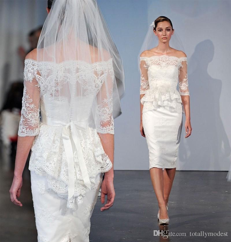 2017 new short sheath fitted knee length wedding dresses for Short fitted wedding dresses