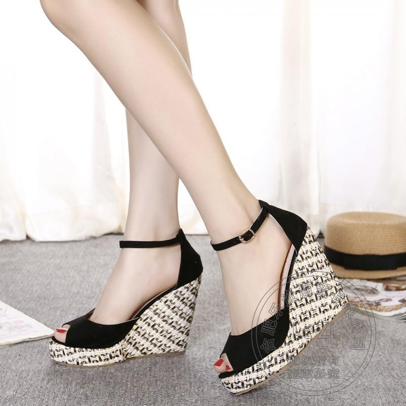 Female Fish Mouth Ladies High Heel Shoes Cute Thick Soled ...