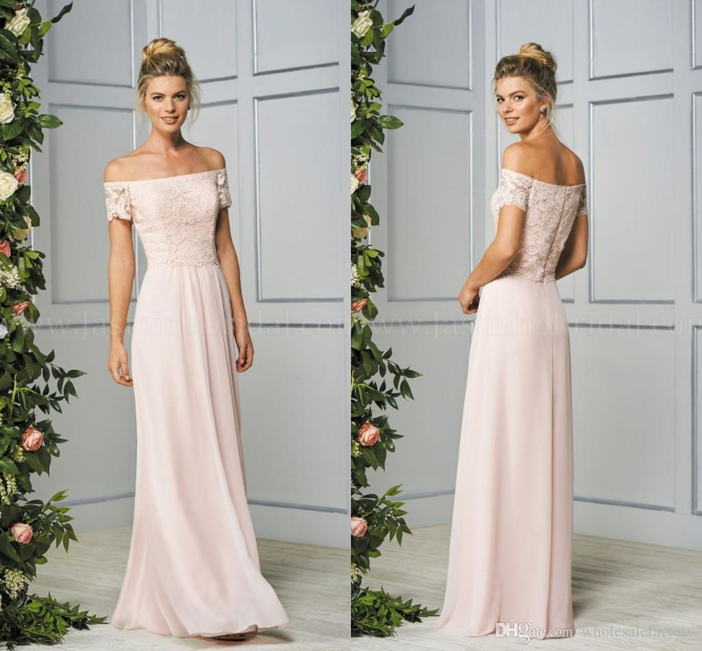 A line chiffon bridesmaid gowns light pink newest bateau neck a line chiffon bridesmaid gowns light pink newest bateau neck short sleeve bridesmaid gowns lace top floor length formal evening gowns 2017 long bridesmaid ombrellifo Image collections
