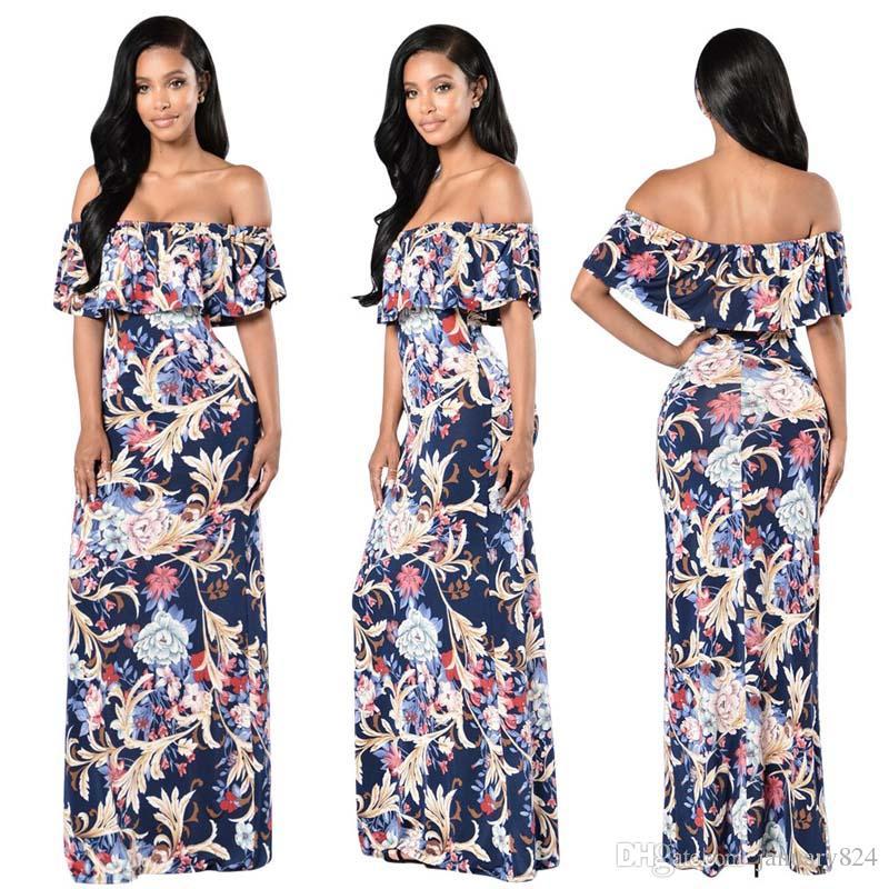 Long Summer Dress Women 2017 Off Shoulder Boho Beach Maxi Dress ...